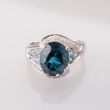 Topas Diamantring 900 PLATIN Damenring Einzelanfertigung blauer Topas