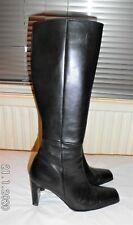 Black real leather long heeled boots Size UK 5 EU 38