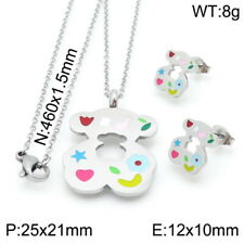 Stainless Steel Multicolour Crystal Bear- Necklace Pendant Earrings Sets