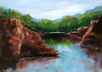 Small Australian river scene, original acrylic painting by Leigh Elks