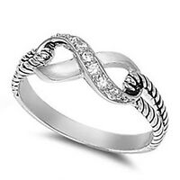 Sterling Silver .925 Women's Clear CZ Fashion Infinity Promise Ring Size 4-10