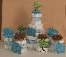 9 Diaper Cakes Baby Shower Centerpiece Umbrellaphants Blue  Pink Peanut Elephant