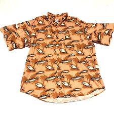 Columbia Fish Print Shirt Mens XXL Short Sleeve Button Front Camp  EUC