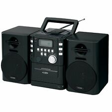 Jensen CD-725 Portable CD Music System with Cassette and FM Stereo Radio, Black