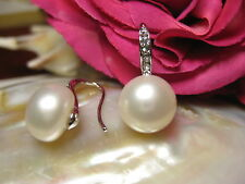 Earring White Gold Plated 10-11mm Real Freshwater Pearls Jewelry Fashion NEW