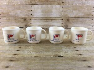 Vtg 80s Perry Drug Store Mug Cup Set Plastic Coffee Beverage Advertising Camping