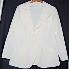 Vintage Womens Snow White Polyester Blazer Jacket 60s Coat Rockabilly L Large