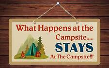 """759HS What Happens At Campsite Stays At 5""""x10"""" Aluminum Hanging Novelty Sign"""