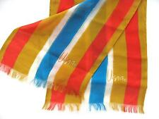 VERA SCARF RED WHITE BLUE & GOLD STRIPED Fringed ends UNIQUE Vintage 1960's