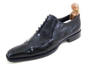 Cesare Paciotti Wingtip Oxfords Black Eel Leather Mens Shoe Size US 8 EU 41 $920