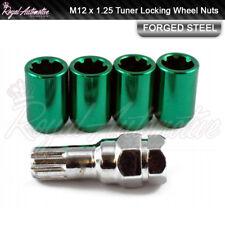4x Toyota GT86 Subaru BRZ Tuner Locking Wheel Nuts Green M12x1.25 Slim Drive