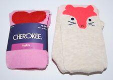 Tights Toddler 2T-3T Fox Heart Pink Orange Red Girls 2 Pair