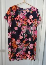 NEW Wish Boutique Large Floral Rose Print A Line Tunic Dress NWT USA Scallop