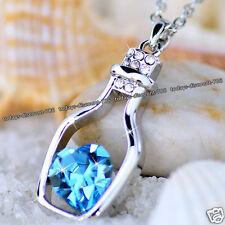 Plata Y Azul Corazón De Cristal Collar Cadena Navidad - Para Ella Novia Mujer