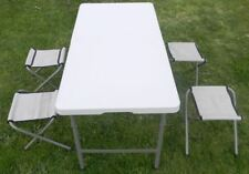 Folding Blow Moulded Table 120Lx61Wx58Hcm+ 4 Stools Outdoor Camping Garden Party