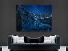 MOUNTAIN LAKE STARRY NIGHTSKY  BEAUTIFUL ART WALL LARGE IMAGE GIANT POSTER