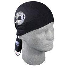 Flying Grey Skull Wings Black Doo Rag Headwrap Biker Helmet Liner Cap Durag ATV