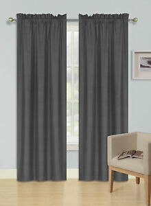 2PANELS ROD POCKET FOAM LINED THERMAL BLACKOUT WINDOW CURTAIN DRAPE R64CHARCOAL