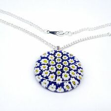 Blue Daisy Flower Glass Pendant Nacklace. Silver Chain with Murano Millefiori