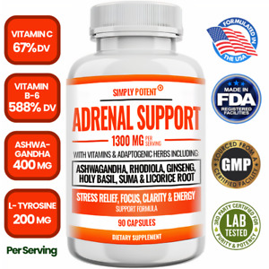 Adrenal Support & Cortisol Manager Supplement Stress Fatigue Relief 90 Capsules