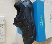 Brand New Clarks Stompo Kid Inf School Black Shoes  Boys Dinosaur. Size 8.5F
