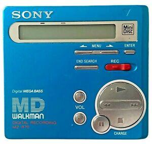 SONY Minidisc MZ-R70 Net MD Walkman Portable Blue With Soft Case