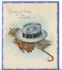 VINTAGE MEN'S STETSON HAT WALKING STICK GLOVES KEYS NEWSPAPER GREETING ART CARD