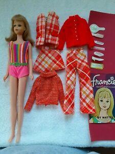 1960's Mattel Vintage FRANCIE doll, wrist tag, booklet, clothes, accessories lot