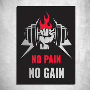 metal sign plaque metallic No pain No Gain fitness exercise Gym quotes 20 x 15cm