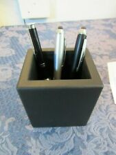 Black Leather Desk Office Table Organizer Supplies Pen Pencil Holder Storage