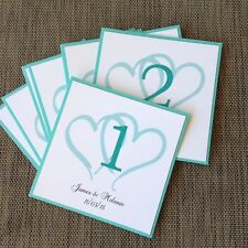 TURQUOISE DOUBLE HEART THEME LAYERED TABLE NUMBER