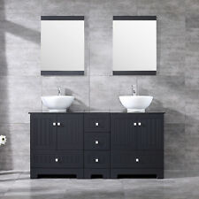 Bathroom Vanity 60inch Mdf Cabinet Double Ceramic Vessel Sink Faucet Combo Set