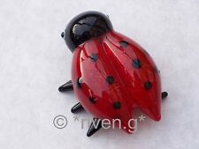 LADYBIRD@Figurine@Red & Black@Glass INSECT@Collectable Gift@Loveable Ladybird