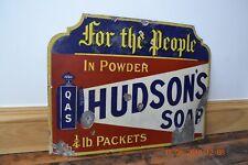 HUDSON`S SOAP ORIGINAL ENAMEL SIGN. LATE 1930`S. MAYBE EARLIER.