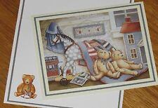 Nita Showers Art - Teddy's Antique Horse - Teddy Bears - vtg Lang Note Card 4ct