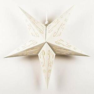 """24"""" Solid White Random Cut-Out Paper Star Lantern, Hanging Decoration"""