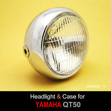 Yamaha QT50 Yamahopper Moped Mini Bike Headlight + Rim Ring + Chrome Bucket Case