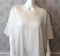 Vintage White Cotton Women's Short Sleeve Floor Length Crochet Yoke Nightgown