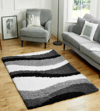 Large Thick Grey Ivory White Black Striped Stripey Waves Shaggy Rug 120x170