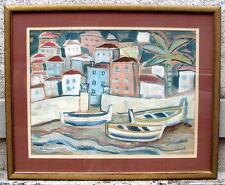 Franz Josef Herold 1904 Kassel Aachen 1986 Gouache Boote Strand Häuser Italien