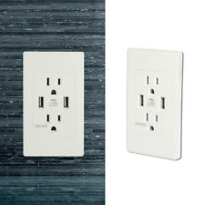 Fosmon HD8161 Tamper Resistant 15A 2 Outlet Wall Plate 60Hz 1875Watts 2 4.2A USB Port
