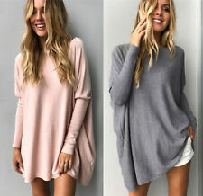 UK Womens Loose Shirt Batwing Sleeve Jumper Sweater Ladies Casual Pullover Tops