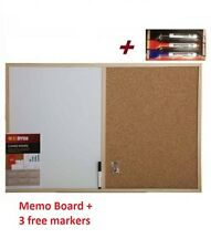 CORK PIN AND WHITE BOARD MEMO NOTICE KITCHEN OFFICE WITH 3 MARKERS - 40x60cm