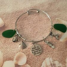 """A WALK ON THE BEACH IS GOOD FOR THE SOUL"" SILVER BANGLE / 4 CHARMS/"