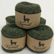 Alpaca Wool 100% Superfine Alpaca Sport Yarn Lot of 5 Moss Green Melange 1Hi02