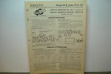PHILCO RADIO SERVICE MANUAL MODEL 39-18 CODE 121 & 122 2 PAGES