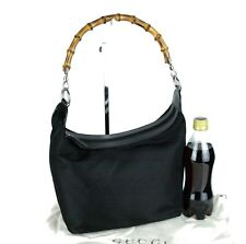 Auth Gucci Black Leather & Nylon Bamboo Hobo Shoulder Bag Hand Bag Purse Italy