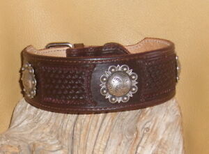 """Leather Dog Collar 2"""" wide Hand Tooled + Berry Conchos adjust 18"""" - 20 1/2""""  G&E"""