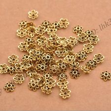 100Pcs Tibetan Silver/Gold Metal Flower Loose Spacer Beads Caps Lots 6MM CA3012