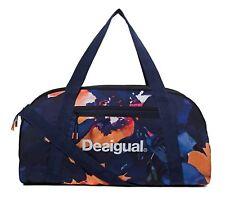 Desigual Camo Flower Victoria Gym Bag Sporttasche Tasche Azul Tinta Blau Orange